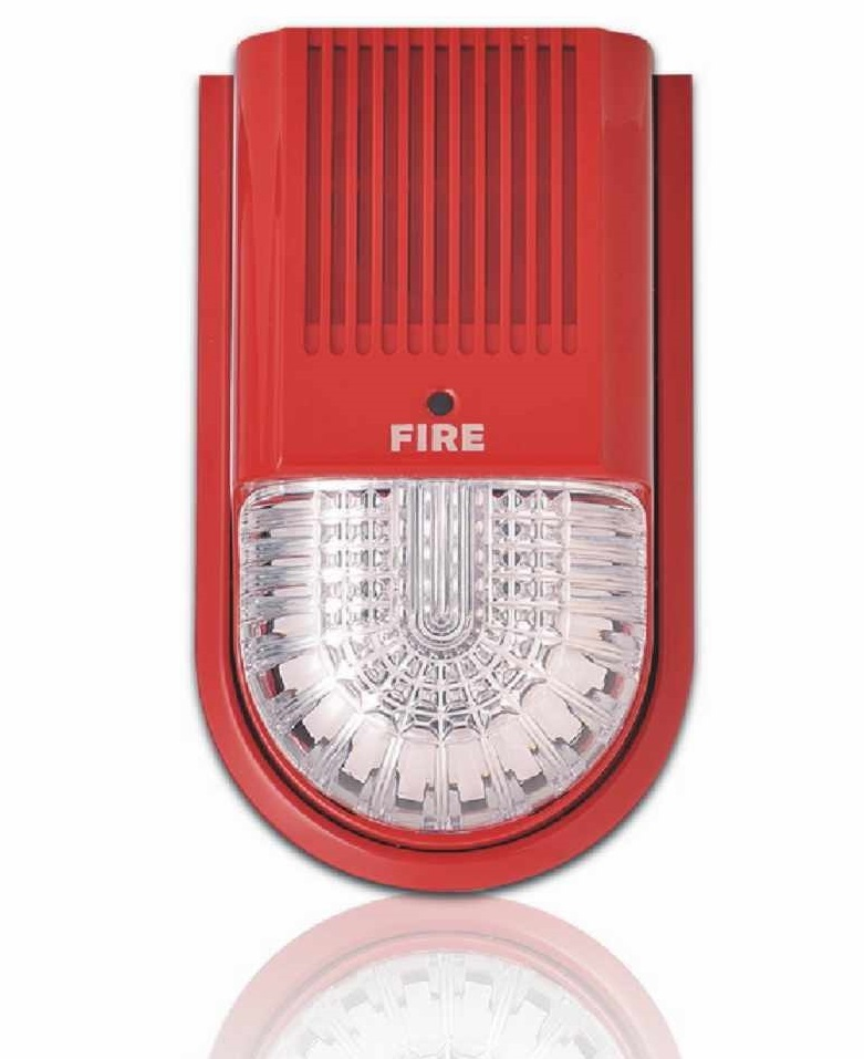 Horn/strobe bus-type fire alarm audible alarm and flashing alarm